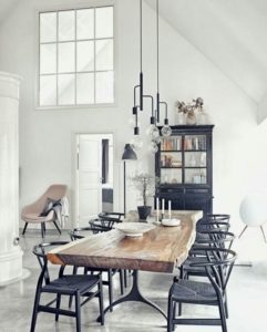 black dining chairs - monochrome