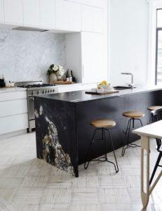 black kitchen island - monochrome