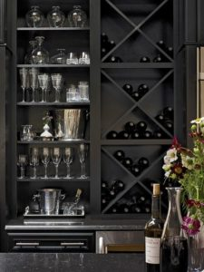 black wine rack - monochrome
